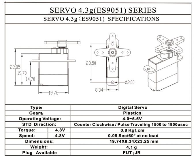 EMAX Digital Micro Servo ES9051 (4.3g)